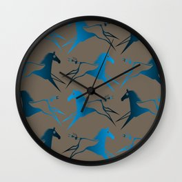 Blue Brown War Horse Wall Clock