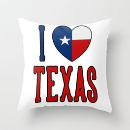 I Love Texas Throw Pillow