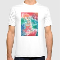 Friends Let Friends Drink and Draw White SMALL Mens Fitted Tee