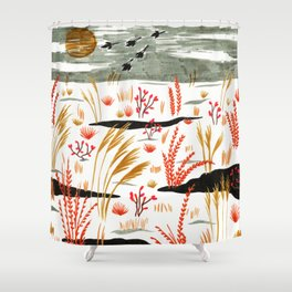 Night Snow illustration by Amanda Laurel Atkins Shower Curtain
