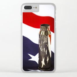 Red White and Brass the American Flag and a 20mm brass Casing reflections Clear iPhone Case