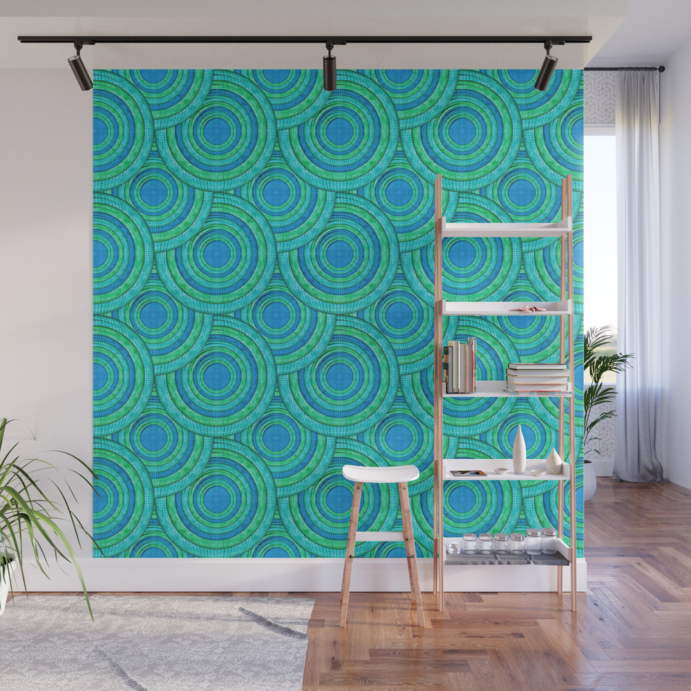 Teal Parasols Pattern Wall Mural by petergross (WMP3164250) photo
