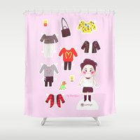 shinee Shower Curtains featuring Key Paper Doll by sophillustration