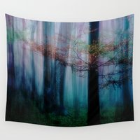 fairies Wall Tapestries featuring In the forest of fairies by Anne Seltmann