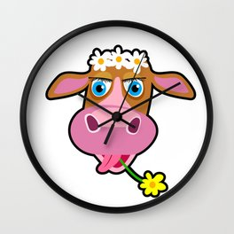 Funny cow with flower cartoon Wall Clock