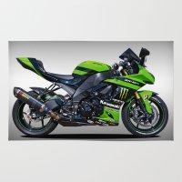 motorbike Area & Throw Rugs featuring Kawasaki Motorbike by cjsphotos