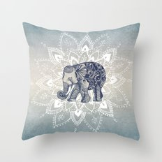 Elephant  Mandala Throw Pillow