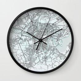 Kaunas, Lithuania, White, City, Map Wall Clock