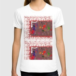 christmas background with snowflakes and art elements T-shirt