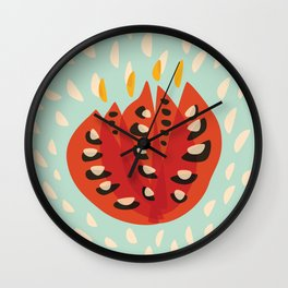 Red Abstract Tulip Wall Clock