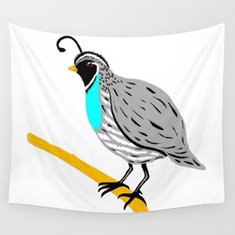 Quail On A Branch Wall Tapestry