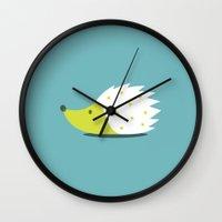 hedgehog Wall Clocks featuring HEDGEHOG by Seokhyun Shim