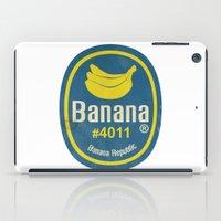 sticker iPad Cases featuring Banana Sticker On White by Karolis Butenas