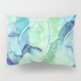 Banana Tree Leaves | Tropical  BLUE Watercolor Pillow Sham