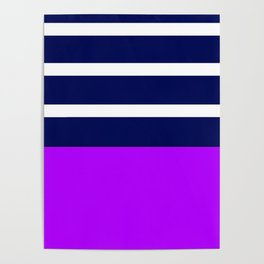 Summer Patio Perfect, Purple, White & Navy Poster