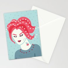 Portrait Of A Girl With Pink Hair Stationery Cards
