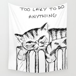 Too lazy cat Wall Tapestry