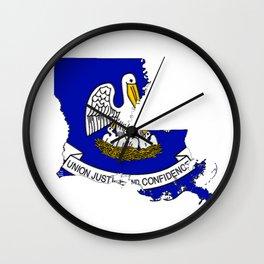 Louisiana Map with Louisiana Flag Wall Clock