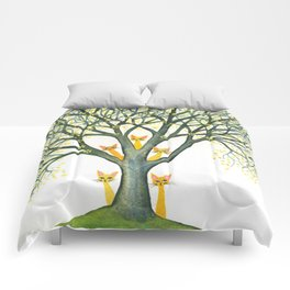 Odessa Whimsical Cats in Tree Comforters