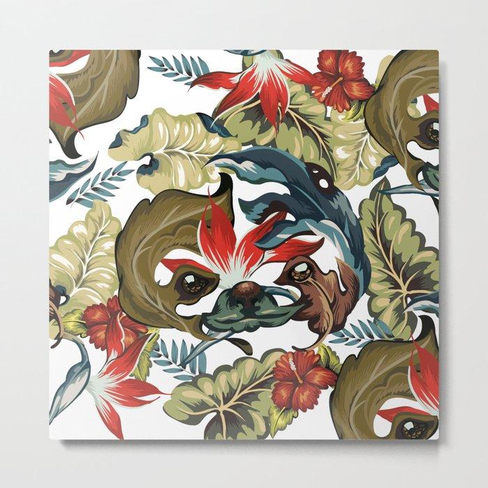 Tropical Sloth Metal Print