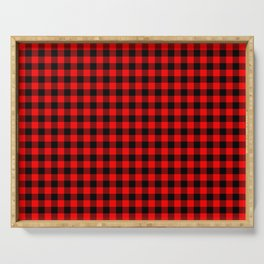 Australian Flag Red and Black Outback Check Buffalo Plaid Serving Tray