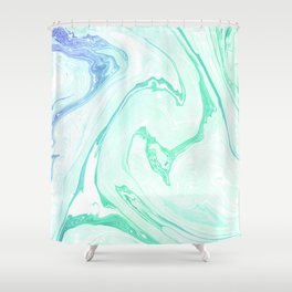 Green Marble Shower Curtain
