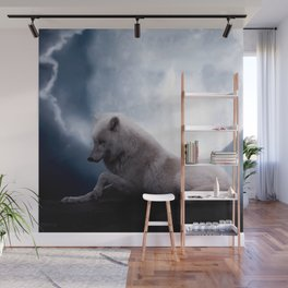 Awesome Wolf and Moon White Wolf Wall Mural