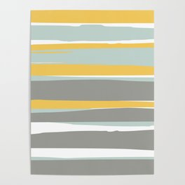Stripe Abstract, Sun and Beach, Yellow, Pale, Aqua Blue and Gray Poster