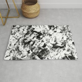 Ebony Black and Vanilla White Marble Classic Design Rug