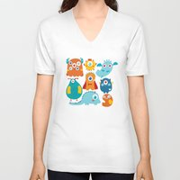 aliens V-neck T-shirts featuring Aliens and monsters pattern by Maria Jose Da Luz