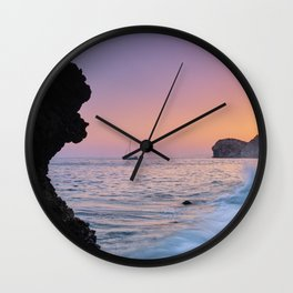 Big Wave. La Joya Beach At Sunset. Spain Wall Clock