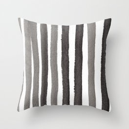 Grey Stripe Abstract Painting Throw Pillow