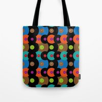 records Tote Bags featuring Vinyl records by Helene Michau