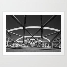 Modern Bridge of steel Black and white photography Art Print