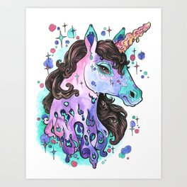 Melty Unicorn Art Print