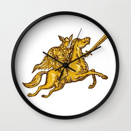Valkyrie Warrior Riding Horse Sword Etching Wall Clock