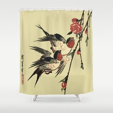 Moon Swallows and Peach Blossoms Shower Curtain