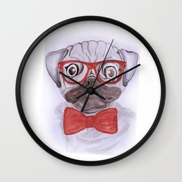 Cute funny watercolor pug with red glasses and bow hand paint Wall Clock