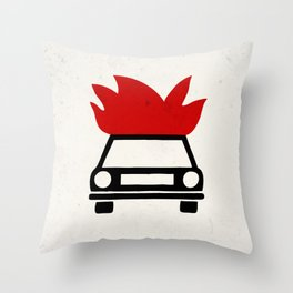 the car's on fire Throw Pillow