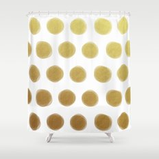 painted polka dots - gold Shower Curtain