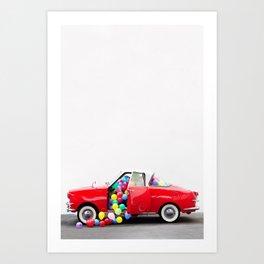 Balloon Car Open Door Kunstdrucke