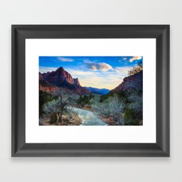 The Virgin River Flows Towards The Watchman at Sunset Framed Art Print