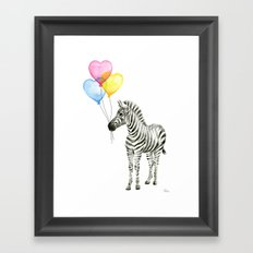 Zebra Watercolor With Heart Shaped Balloons Whimsical Baby Animals Framed Art Print