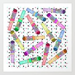 Retro 80's 90's Neon Colorful Push Candy Pop Art Print