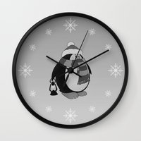 penguin Wall Clocks featuring Penguin by mangulica illustrations