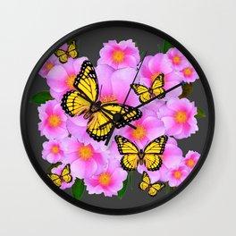 PINK ROSES YELLOW MONARCH  CHARCOAL ART Wall Clock