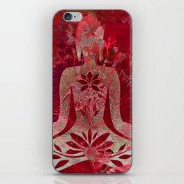 Deep Magenta Distressed Yoga Panel iPhone Skin