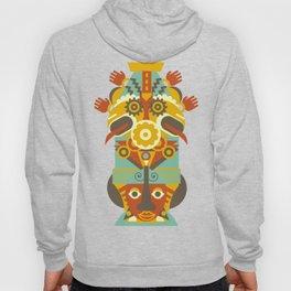 Mesoamerican Totem Face - Hands Headdress Hoody