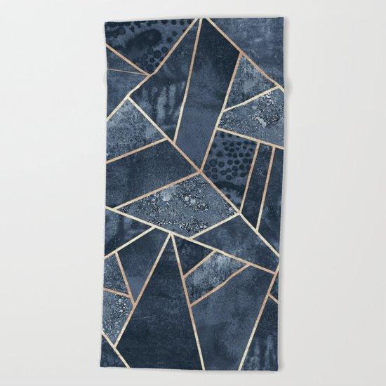 Soft Dark Blue Stone Beach Towel