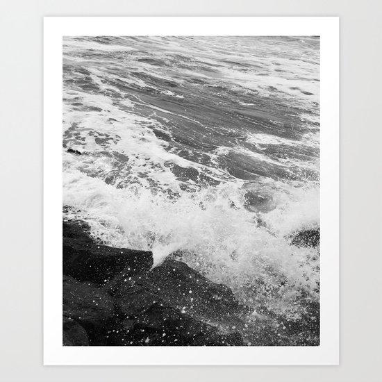 SEA on Black and White Art Print